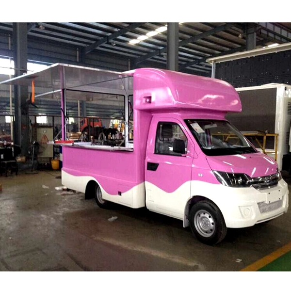 Pink Attractive Mobile Fast Food Truck For Sale