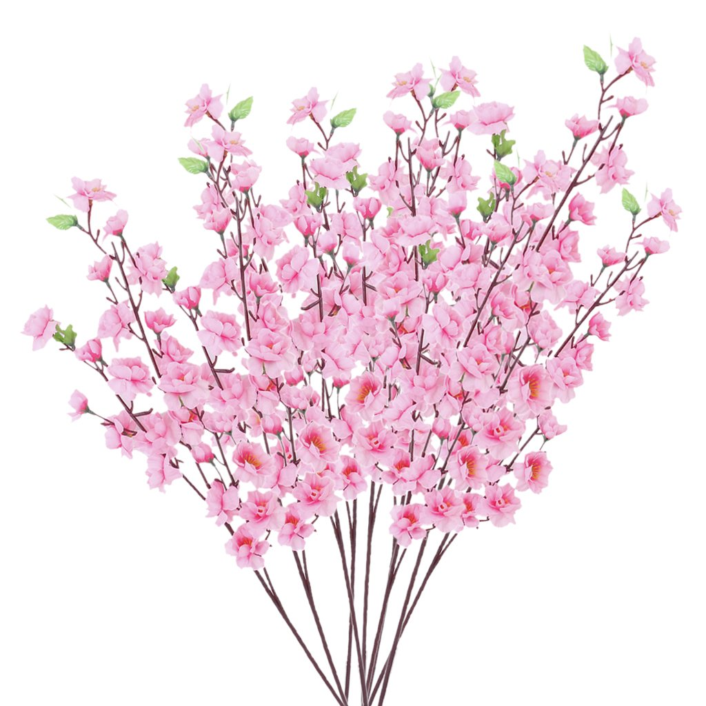 Artificial Spring Blossom Cherry Plum Bouquet Branch Silk Flower (Pink)