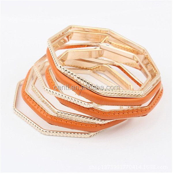 leather decorated gold octagon stack bangle women gold stack bangle set metal bangles set