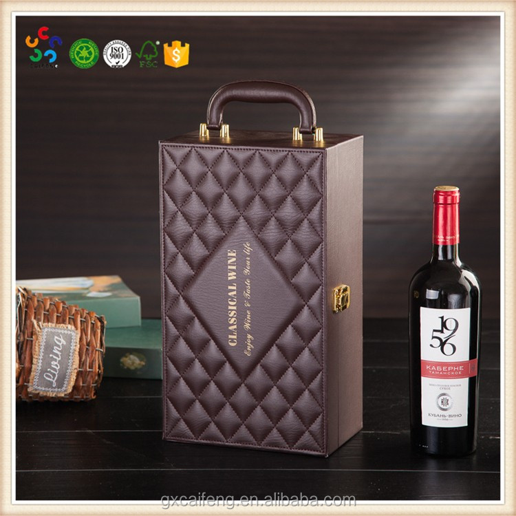customized PU / leather bags with handles for chinese wine bottle protector