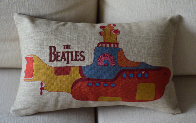Wholesale! 30cm*50cm cozy and cute Cushions Home Decor beatles submarine lumbar cushion,creative sofa cushion, Free Shipping!