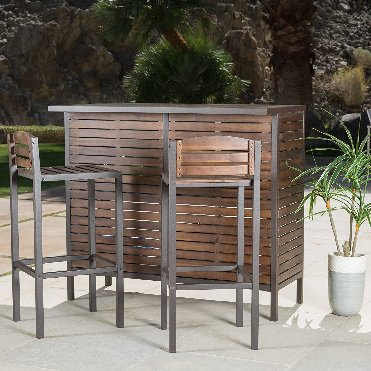Wood Bistro Bar Set - Rectangle Acacia Wood Brown Iron Bohemian Modern Rustic Bar Set - Transform Your Backyard Into an Entertainment Center with The Outdoor 3-Piece Acacia Wood Bar Set