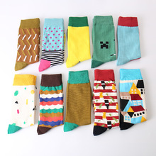 Colour Men Crew Cotton Socks British Style Argyle Dot Striped Pattern Harajuku Designer Brand Fashion Novelty Socks