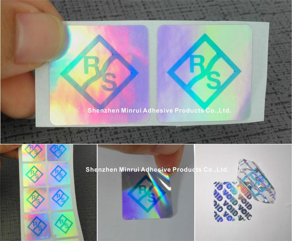 High quality custom made self adhesive hologram 25 x 25mm security void sticker security hologram