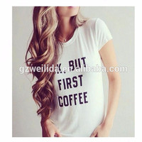 Popular and soft spandex/cotton custom Letter Print women Plain White t shirt