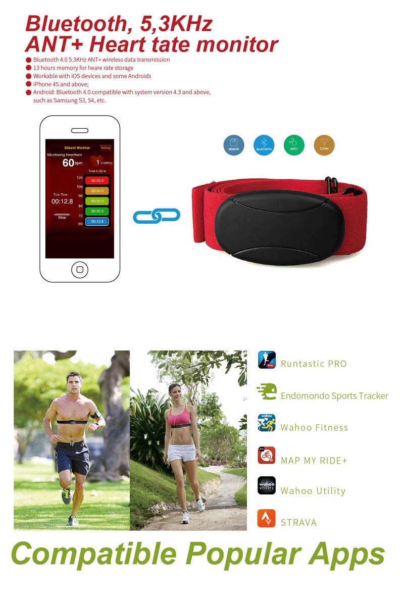 Fitcare Chest Strap Sport Bluetooth Heart Rate Monitor Android App For  Public Fitness App With Bluetooth 4 0 - Buy Bluetooth Heart Rate Monitor