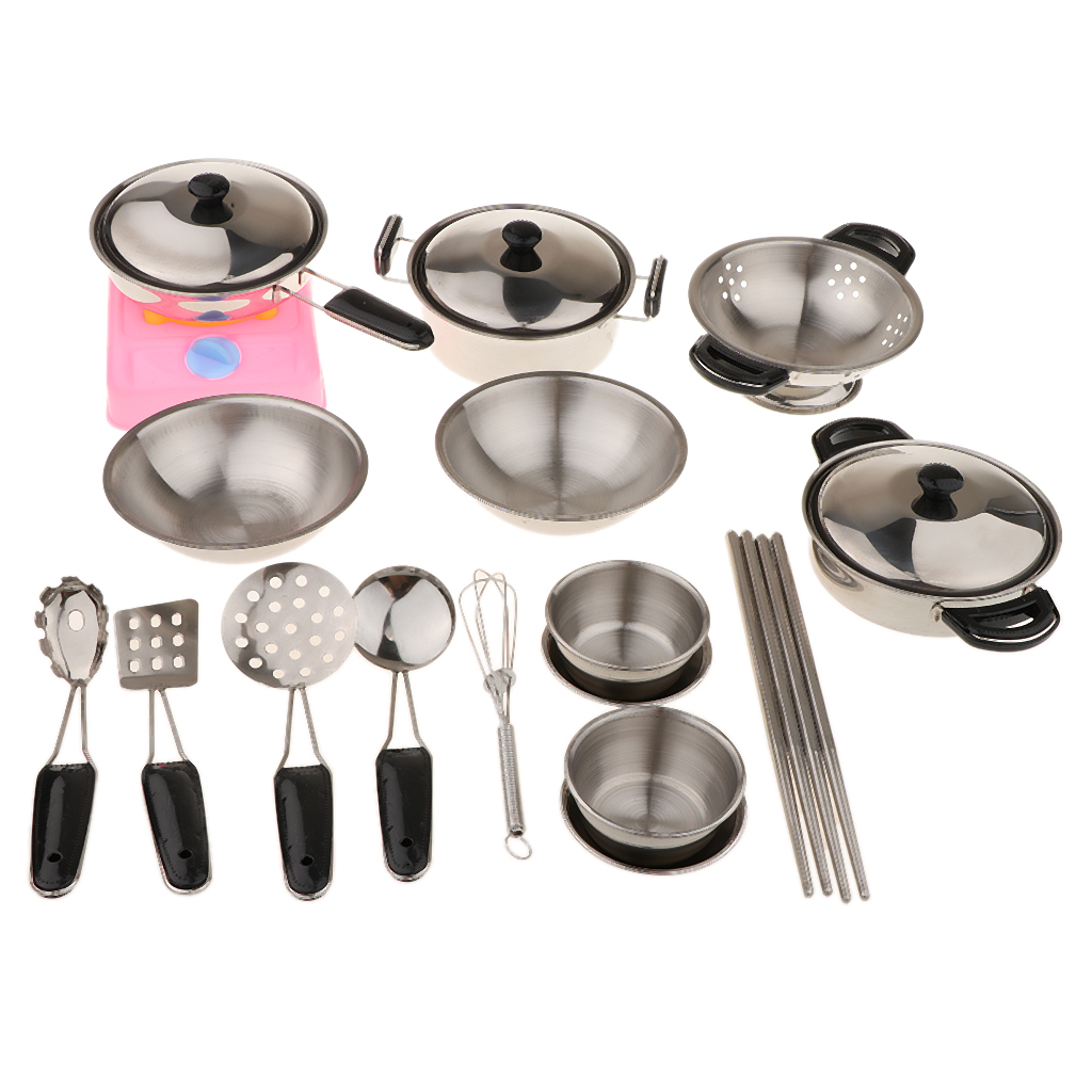 20PCS Stainless Steel Play Pots & Pans Toy Playset for Kids Pretend Game  Cooking Utensils Kitchen Toys