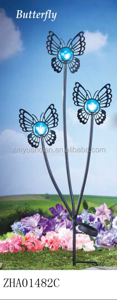 metal outdoor garden decorations butterfly with solar light