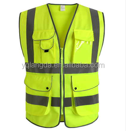 Free printing Traffic road Customized promotional reflective safety vest in reflective material