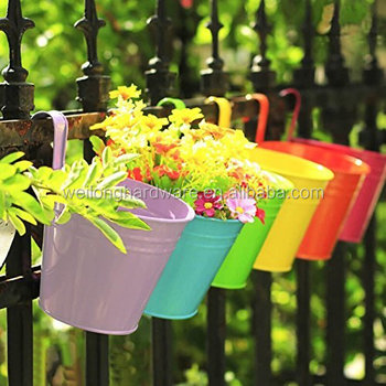 Metal Iron Hanging Flower Plant Pots Balcony Garden Planter Baskets Fence Bucket Holders With