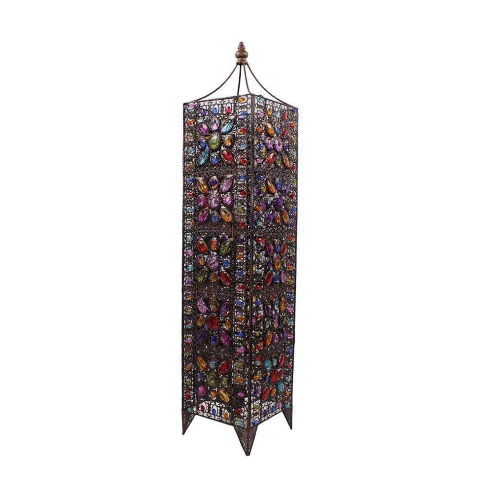 WAN SAN QIAN- Large Iron Moroccan Floor Lamp Stylish Cutwork Jeweled Floor Light with Colourful Organic Glass Beads E142,99x21cm Floor Lamp
