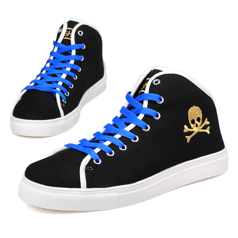 2015 Spring&autumn Men sneakers skull high top gold shoes canvas sport jogger hip hop Zapatos Hombre Mujer casual shoes for men