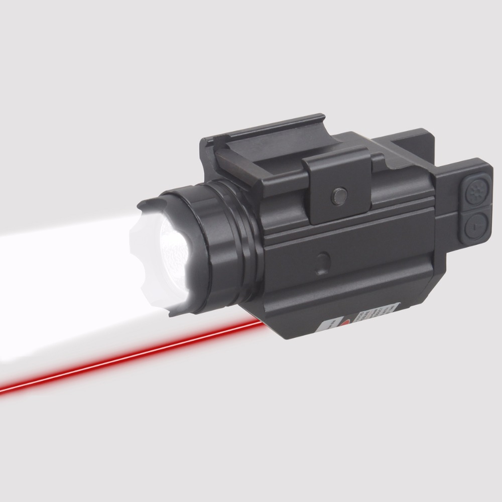 Vector Optics Doublecross Tactical Pistol Weapon Light with Red Laser Sight fit 20mm Rail for Glock 17 19 Smith & Wesson