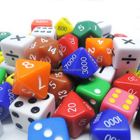Educational toys plastic dice for kid playing party game dice