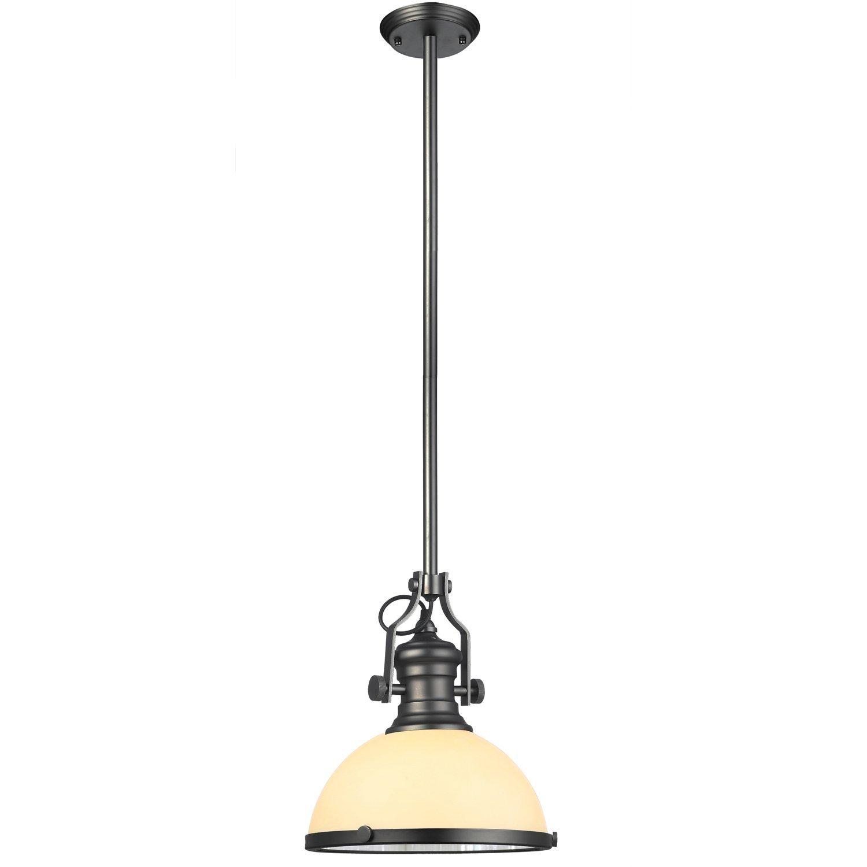 "VONN VVP21051BZ Industrial 12"" LED Pendant Light, Industrial Pendant Lighting with Glass Shade, Adjustable Hanging Light, Dorado Collection, Architectural Bronze"