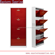 Home Furniture Upright 4 Tier Metal Shoe Cabinet