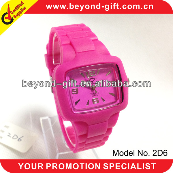 Colorful silicone women sport square face watches