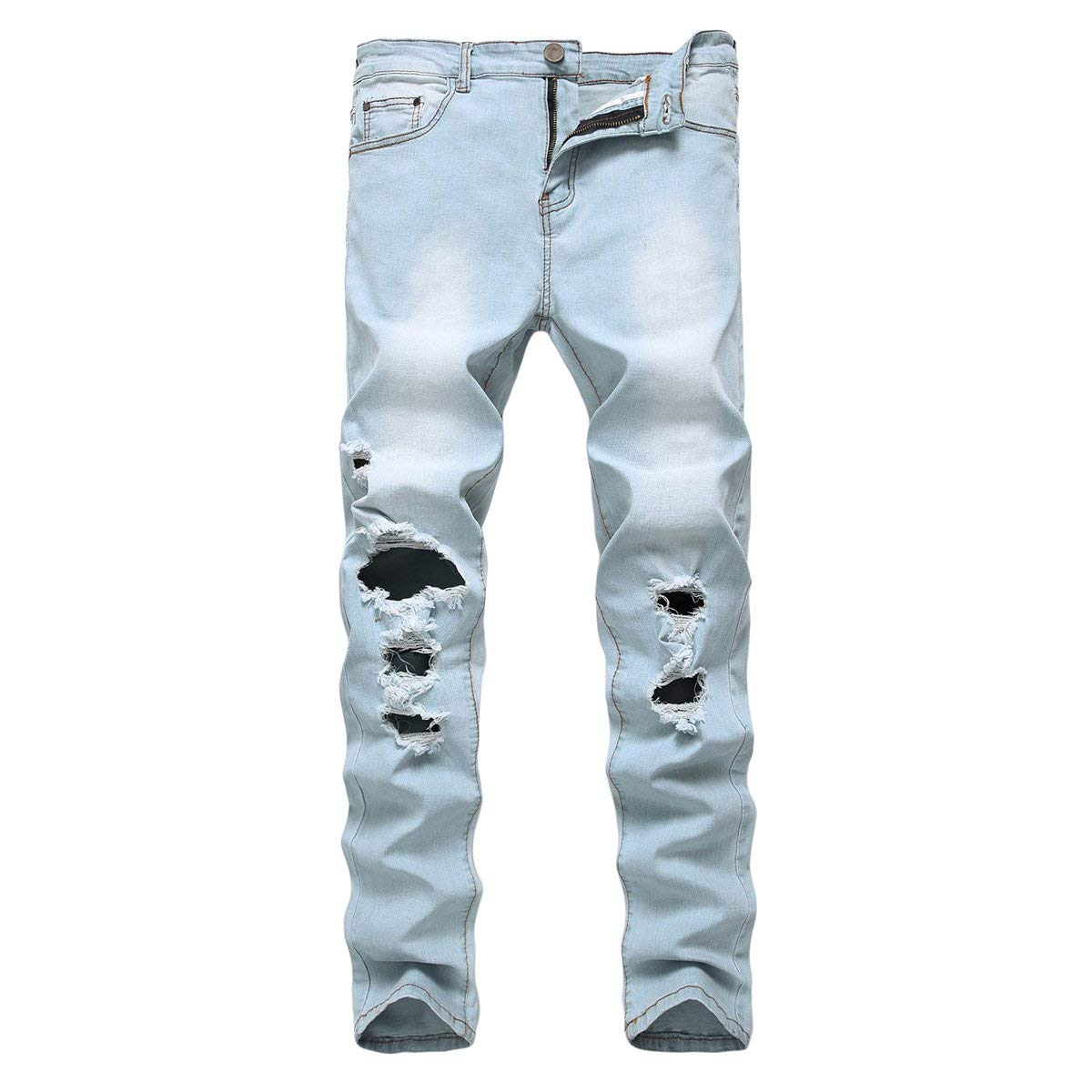 a41cfc0c2ae Get Quotations · PrettyChic Men s Skinny Denim Ripped Distressed Slim Fit Destroyed  Hole Causal Jeans