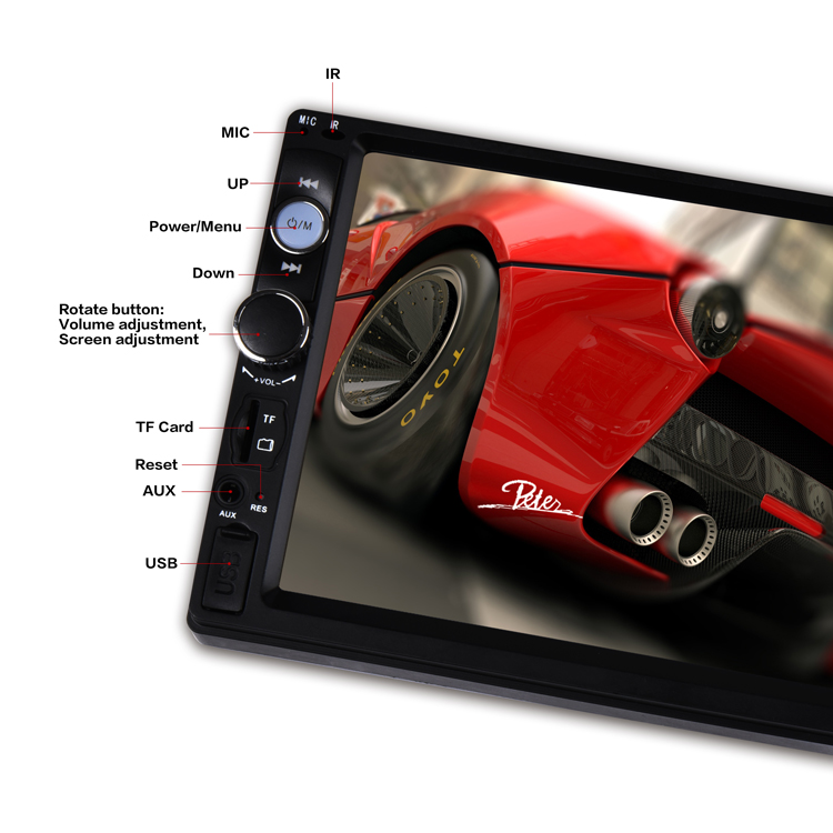 Car 2 DIN 7 Inch Bluetooth Audio In Dash Touch Screen Car monitor Car Audio Stereo double din MP3 MP5 Player USB Support