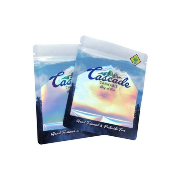 Three Side Seal Zip Lock Holographic Pouch Plastic Mylar packaging Bag With Clear Window