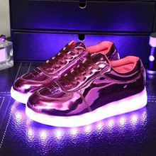 2016 Kids Sneakers Fashion USB Charging Luminous Lighted Colorful LED lights Children Shoes Casual Girls Boy
