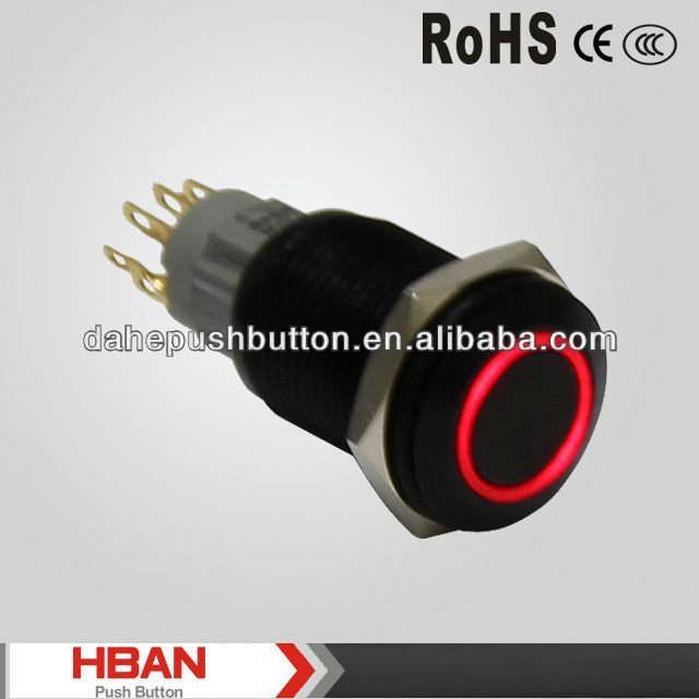 CE ROHS 16mm pcb illuminated switch