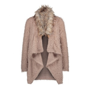Wholesale New Women Autumn Big Hair Collar Cardigan Sweater Coat