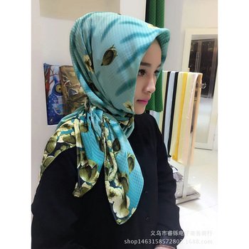 Simple design printing pattern cotton muslim hijab head scarf hijab
