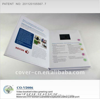 Advertising video booklet/LCD video greeting card for promotion/customized video brochure
