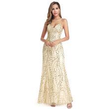 Платья для выпускного вечера с блестками, длинные, без рукавов, с блестящим v-образным вырезом, сексуальные, с открытой спиной, Русалка, женск...(Китай)