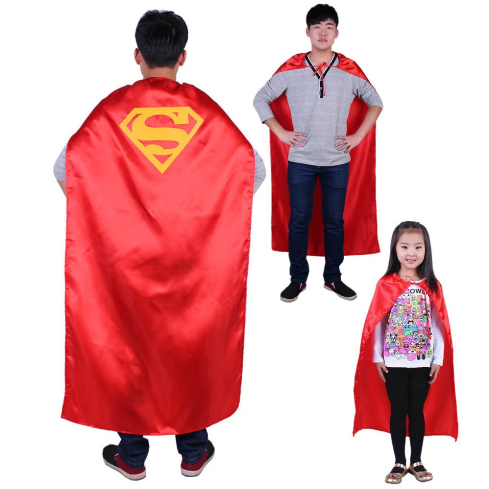 Free shipping ,halloween party costume adult children red satin superman cape cloak .