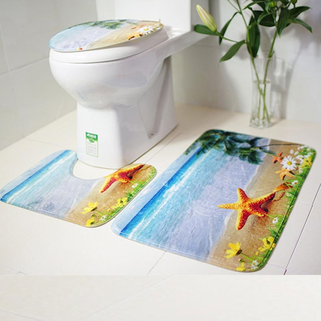 Makaor 3PC Bath Mat Rug Set Bathroom Non-Slip Floor Mat Ocean Style Pedestal Rug + Lid Toilet Cover + Bath Mat (75cmx44cm/44cmx39cm/40cmx38cm, Pattern B)
