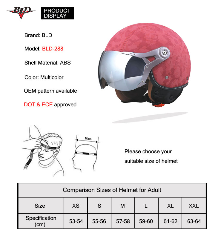 Hot Sell Retro Style Motorcycle Helmet with Goggles Sun Shield Necklet Light and Durable Protecting