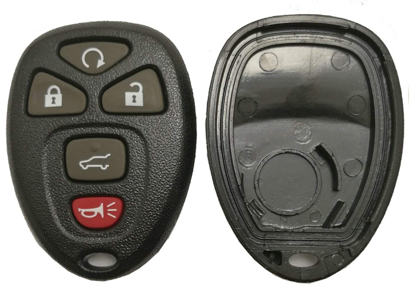 Replacement Key Fob Case Shell for GM GMC Yukon Buick Chevrolet Saturn 5 Buttons Keyless Entry Remote Car Key Casing with Button Pad (Black)