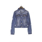 2019 New Arrival OEM Wholesale Fashion Ripped Distressed Cropped Denim Ripped Denim Jacket for Women