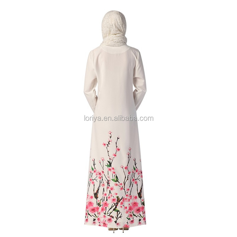 Colorful Modern wholesale muslim dress Dubai Turkish Abaya White Flower Printing Dress