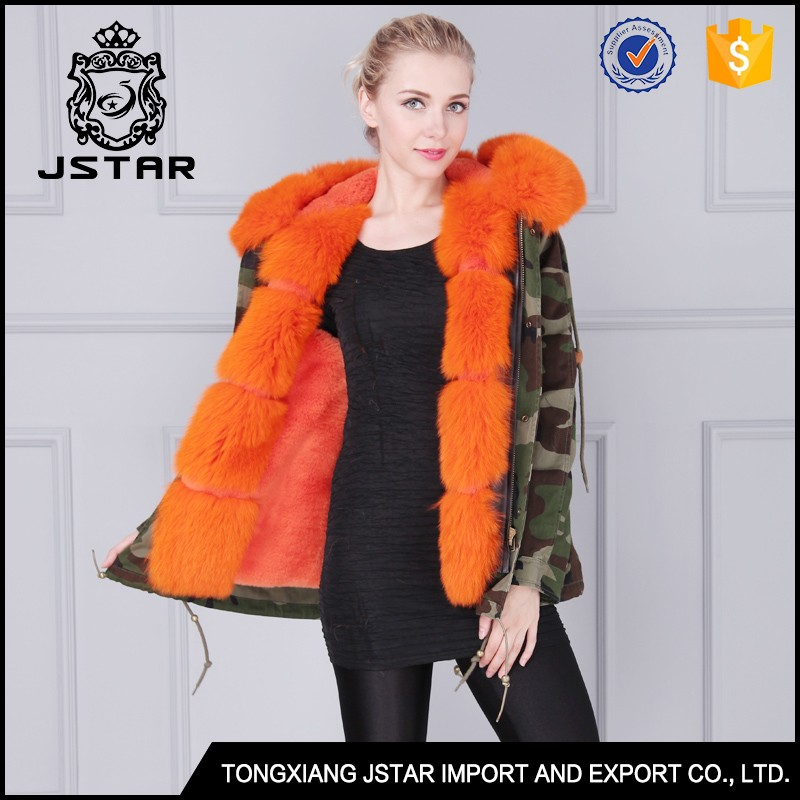 Hot selling army green women winter fur jacket with fur hood