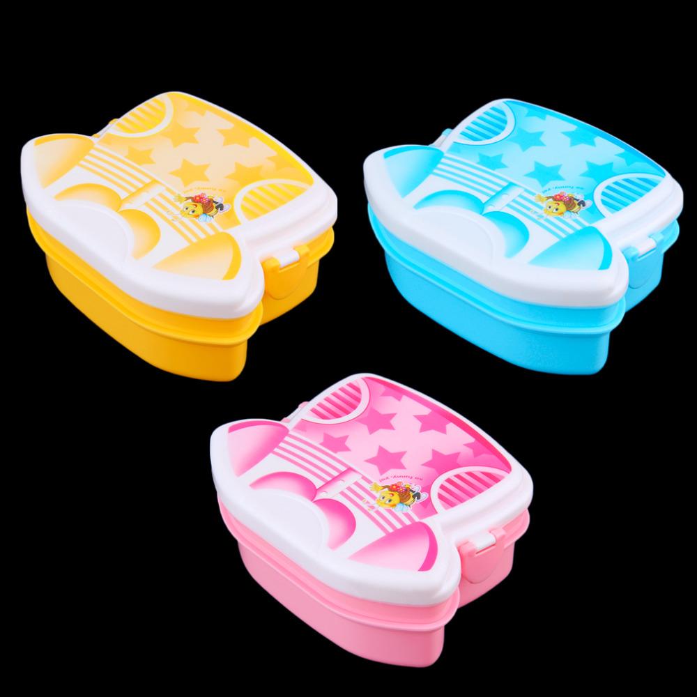 3 Warna Kartun Lunchbox Bento Kotak Makan Siang Anak Plastik Box Lunch Exclusive Wadah Makanan Microwave Sendok