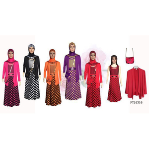 muslim polka dot dress with bag hijab kids abaya wholesale