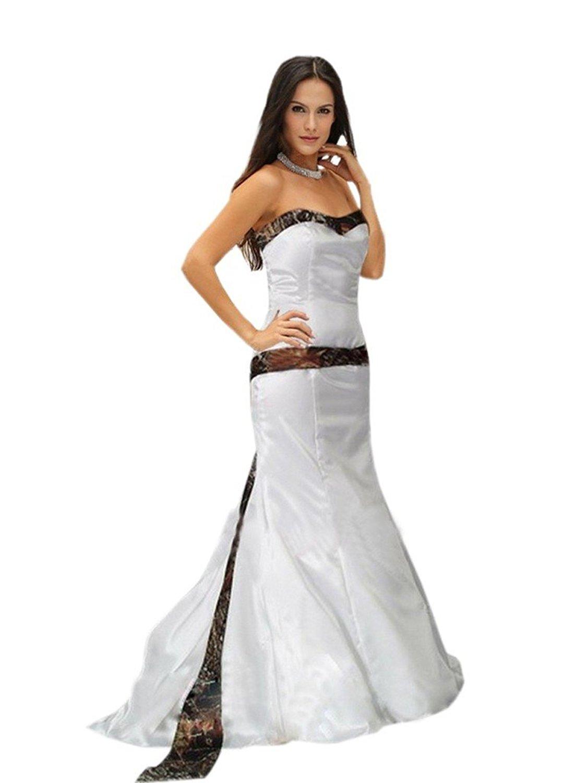 Mollybridal Mermaid Wedding Dress Strapless Camo Satin For Bride Women 2016