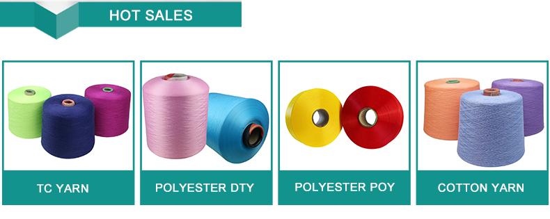 Venta al por mayor precio competitivo de color respetuoso del medio ambiente, poy 100% poliéster hilo de tejer