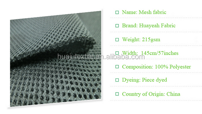 New Design Polyester Airflow 3D Air Mesh Black Fabric 3Mm For Car