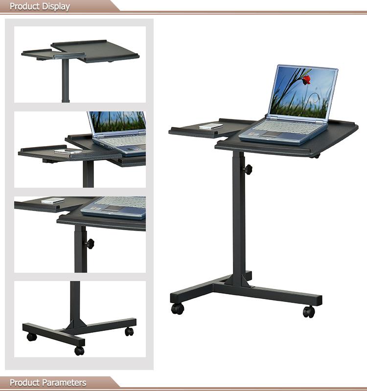 תוספת עיצוב פשוט ריהוט משרדי שולחן למחשב נייד מתכוונן קטן על גלגלים OA-35