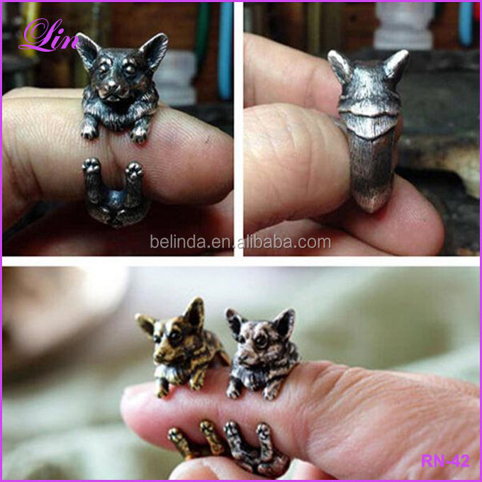 Silver Black Corgi Animal Hippie Brass Dog Ring
