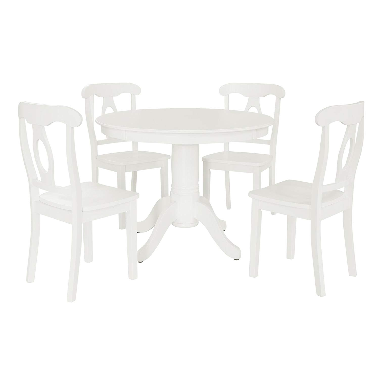 Stylish 5-Piece Pedestal Dining Set, Traditional Height, Seats 4 People, Round Pedestal Table, 4 Napoleon Style Chairs, Sturdy and Long Lasting Solid Wood Construction, Black or White Finish
