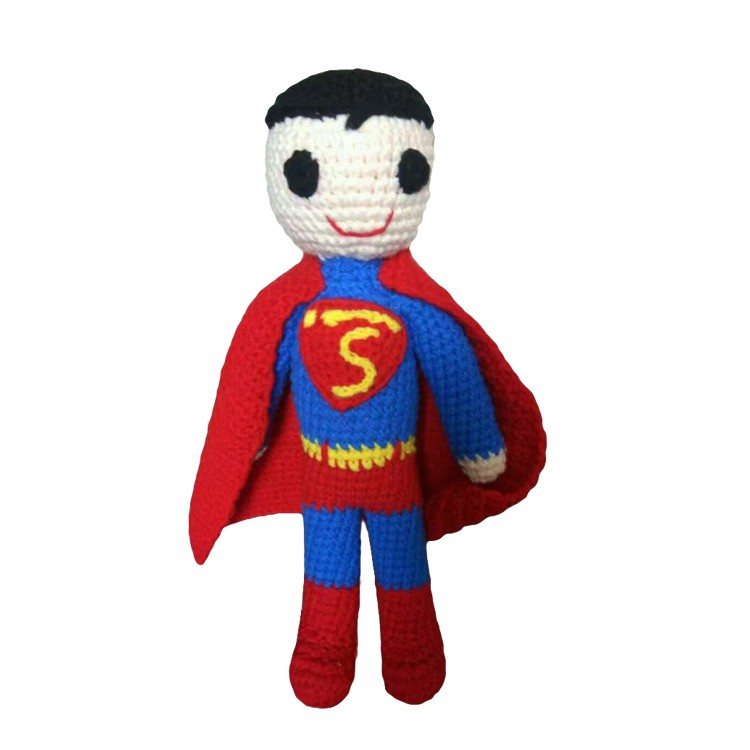 Wholesale hand knitted cotton fabric crochet superman toy