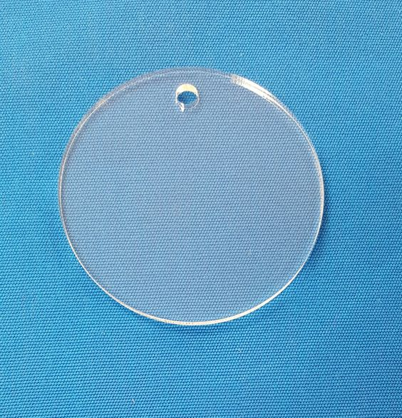 "Clear Acrylic Keychains 2.5"" Diam Circle Blank Disc Craft Plastic Round Shape Laser Cut With Polished Edges Plexiglass"