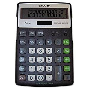 """Sharp - El-R297bbk Recycled Series Calculator W/Kickstand 12-Digit Lcd """"Product Category: Office Machines/Calculators & Counters"""""""