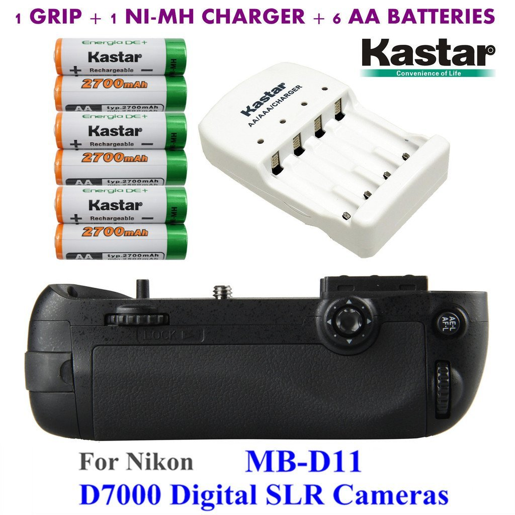 Kastar Pro Multi-Power Vertical Battery Grip (Replacement for MB-D11) + 6x AA NI-MH Batteries(2700mAh) + NI-MH Charger for Nikon D7000 Digital SLR Camera