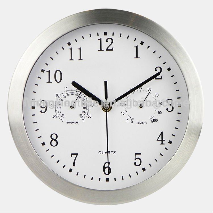 silver decorative mirror wall clock with temperature and humidity display